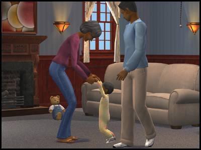 montsimpa sims 2 famille dourève darren darlène dirk bambin apprendre marche