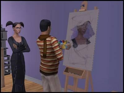 montsimpa sims 2 famille dourève darren sandra gothik peindre portrait tableau modèle
