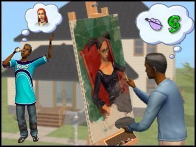 montsimpa sims 2 famille dourève darren dirk peinture tableau téléphone lilith simpa flirt