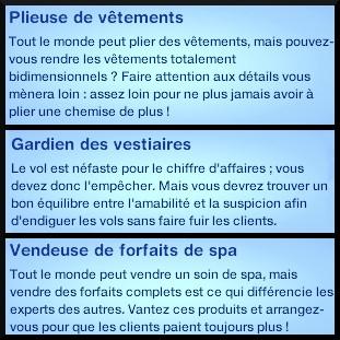 11 sims 3 carriere mi temps spa urbain specialiste plieur vetement gardien vestiaire vendeur forfait spa