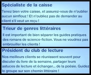 19 sims 3 carriere mi temps employe librairie specialiste caisse trieur genres litteraires president club lecture
