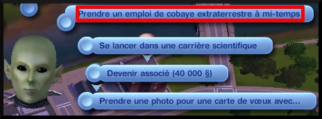 21 sims 3 carriere mi temps cobaye extraterrestre interaction prendre emploi