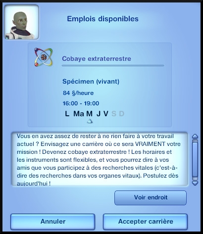 22 sims 3 carriere mi temps cobaye extraterrestre opportunite emploi