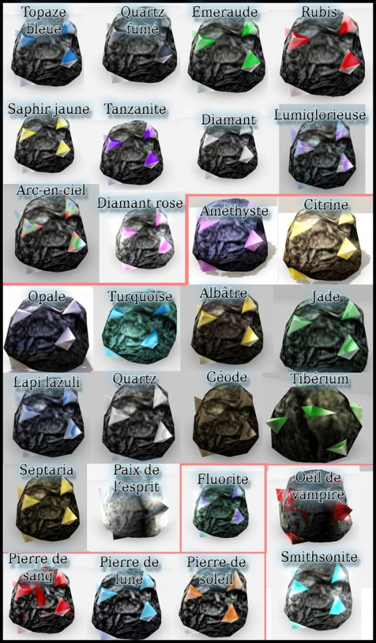 13 sims 3 collection pierre metal insecte tableau pierre precieuse