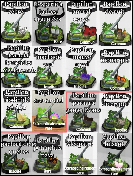 30 sims 3 collection pierre metal insecte tableau papillons