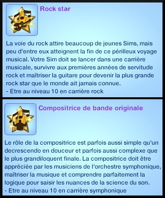 2 sims 3 competence guitare carriere musicale souhait à long terme compositeur de bandes originales rockstar