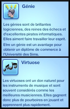 3 sims 3 competence guitare carriere musicale trait caractere virtuose genie