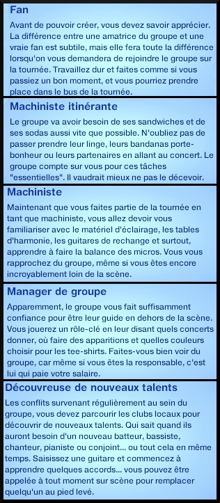 6 sims 3 competence guitare carriere musicale echelon fan machiniste itinerant manager decouvreur talent