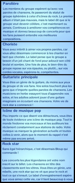 12 sims 3 competence guitare carriere musicale echelon rock