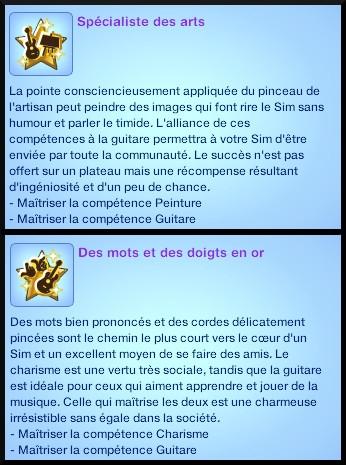 20 sims 3 competence guitare carriere musicale souhait long terme specialiste des arts des mots et des doigts en or