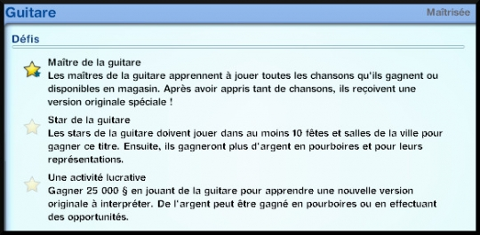 32 sims 3 competence guitare carriere musicale defis journal competence