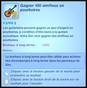 37 sims 3 competence guitare carriere musicale souhait pourboires