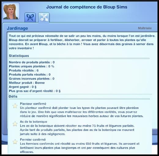 27 sims 3 competence jardinage journal de compétence défi