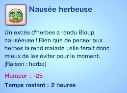 Sims 3 compétence jardinage moodlet nausée herbeuse herbe