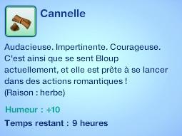 Sims 3 compétence jardinage moodlet canelle