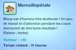 Sims 3 compétence jardinage moodlet merveuillopétale