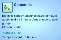 Sims 3 compétence jardinage moodlet camomille