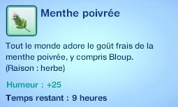 Sims 3 compétence jardinage moodlet menthe poivrée