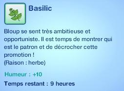 Sims 3 compétence jardinage moodlet basilic