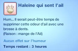 Sims 3 compétence jardinage moodlet haleine qui sent l'ail ail