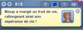 Sims 3 compétence jardinage moodlet message fruit de vie esperance de vie rallongée