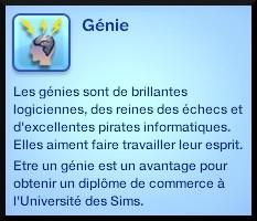 1 sims 3 competence logique trait caractere genie