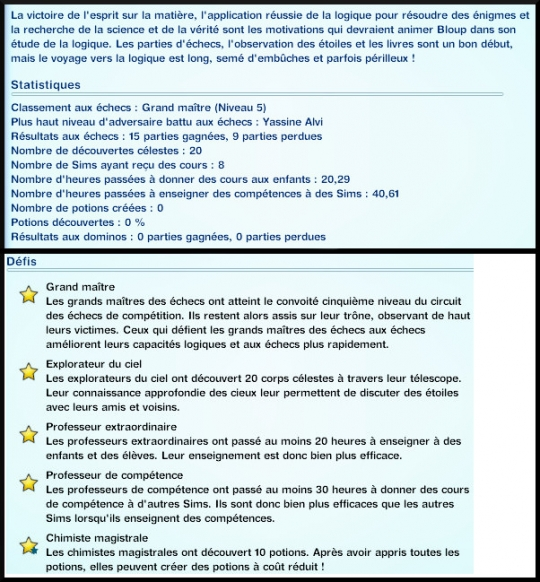 3 sims 3 competence logique journal competence