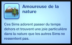 10 sims 3 generalite trait de caractere aime la nature