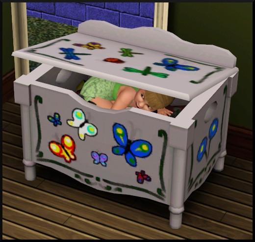48 sims 3 generalite bambin qui joue dans coffre à jouets
