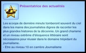 4 sims 3 carriere journalisme affaires souhait à long terme presentateur actualites