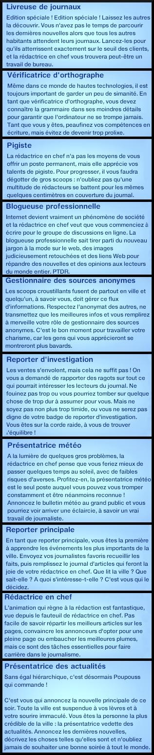 7 sims 3 carriere journalisme affaires echelons description