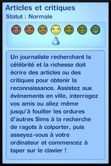 8 sims 3 carriere journalisme affaires redaction article critique explication