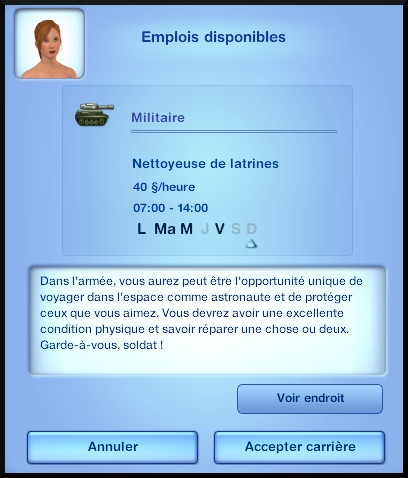 6 sims 3 carriere sportif militaire opportunité carriere