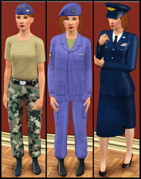 12 sims 3 carriere sportif militaire tenues travail 1