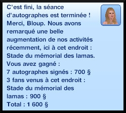 34 sims 3 carriere sportif militaire message fin seance autographes