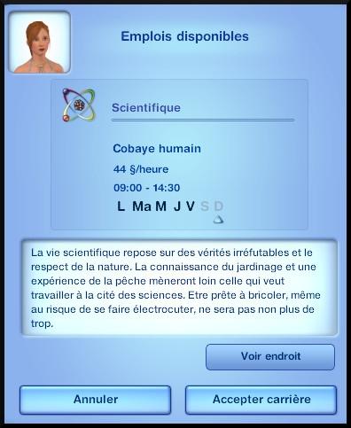 6 sims 3 carriere scientifique medecine opportunite cobaye