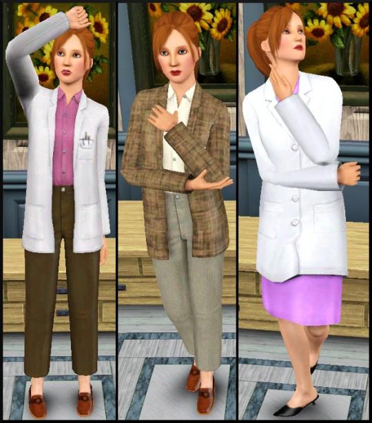 11 sims 3 carriere scientifique medecine tenues travail 1