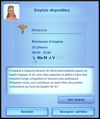 26 sims 3 carriere scientifique medecine opportunite donneur organe