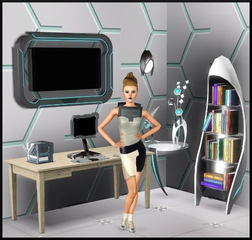 6 sims 3 store choc du futur Salon bibliothèque television