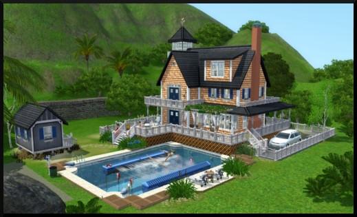 Sims 3 store villa para so maison au bord de la mer le sable fin for Maison moderne de luxe sims 3