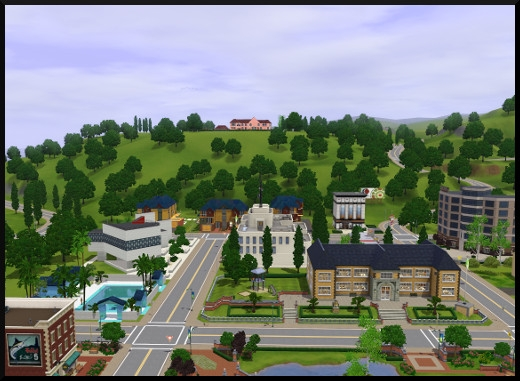 8 sims 3 sunset valley vue centre ville