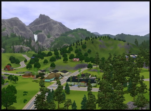 9 sims 3 sunset valley vue de loin