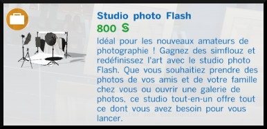 3 sims 4 photographie competence studio photo flash mode achat