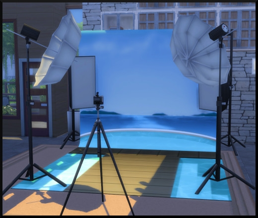 21 sims 4 photographie competence studio photo flash décor eau