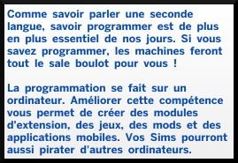2 sims 4 competence programmation description