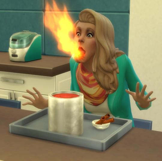 sims 4 en cuisine préparation glace feu