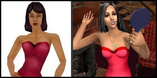 sims 2 3D sonia gothik comparaison Sims 1