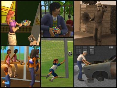 sims 2 quartier libre loisirs jeux sports creativite passions centres d'intérêt