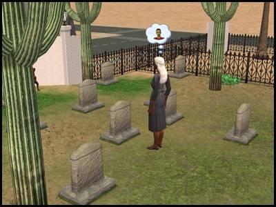 zarbville sims 2 olivia chimère dans le cimetière de sa maison