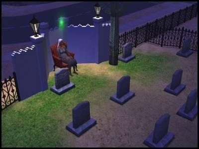 zarbville sims 2 olivia chimère dans cimetière la nuit fauteuil rouge
